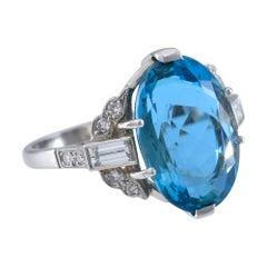 Santa Maria Africana Aquamarine Diamond and Platinum Ring