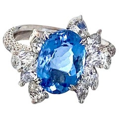 Santa Maria Aquamarine and Diamond Cocktail Ring in 18kt White Gold, 4.7 Carat