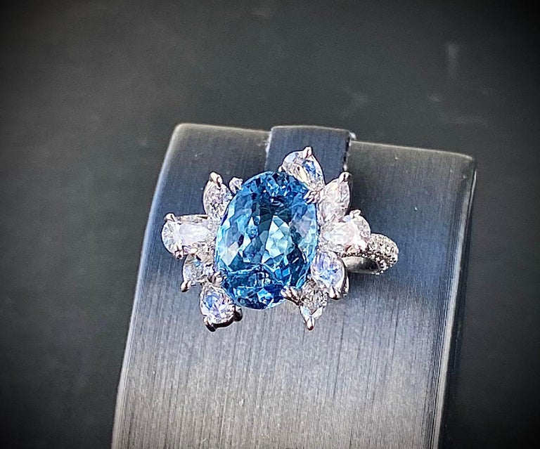 Art Deco Santa Maria Aquamarine and Diamond Cocktail Ring in 18kt White Gold, 4.7 Carat For Sale