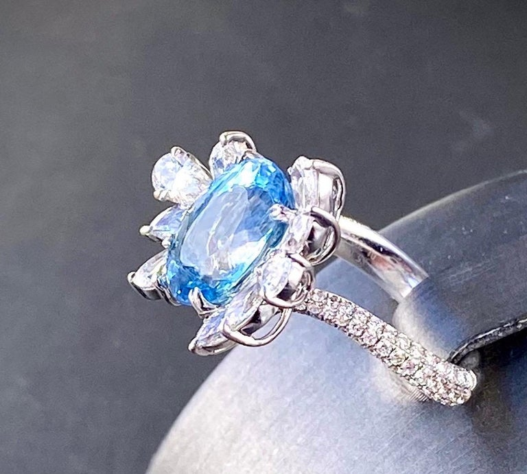 Rose Cut Santa Maria Aquamarine and Diamond Cocktail Ring in 18kt White Gold, 4.7 Carat For Sale