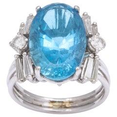 'Santa Maria' Aquamarine and Diamond White Gold Ring
