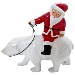 """Santa Riding A Polar Bear"" Still Bank, American, circa 1988"