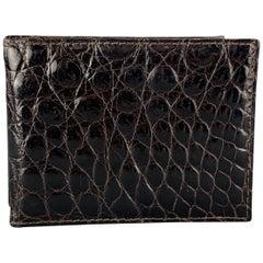 SANTAMARIA Dark Brown Alligator Leather Money Clip Tri-fold Wallet
