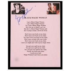 Santana Gregg Rolie Autographed Black Magic Woman Lyrics on Paper