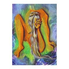 """La Inolvidable Yassith"" Venezuelan Abstract Neon Nude Figure on Knees Painting"