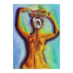 """Tropicalisima"" Venezuelan Abstract Neon Nude Figure with Fruit Bowl on Head"