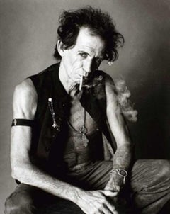 Keith Richards smoking - portrait of the rock star and rolling stones member