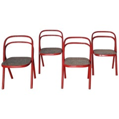Santi Carlo 'Santina' Modern Red Bentwood Chairs for Zanotta, 1970s