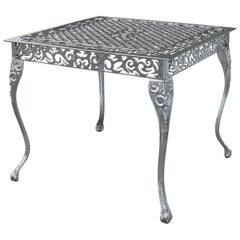 Santi, Outdoor Aluminum Side Table with Chrome Finish, Made in Italy