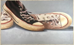 """#111"" Oil painting of converse in black and white on grey background"