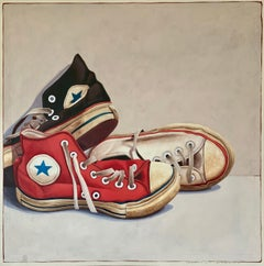 """#1318"" photorealist oil painting of black, red and white converse high tops"