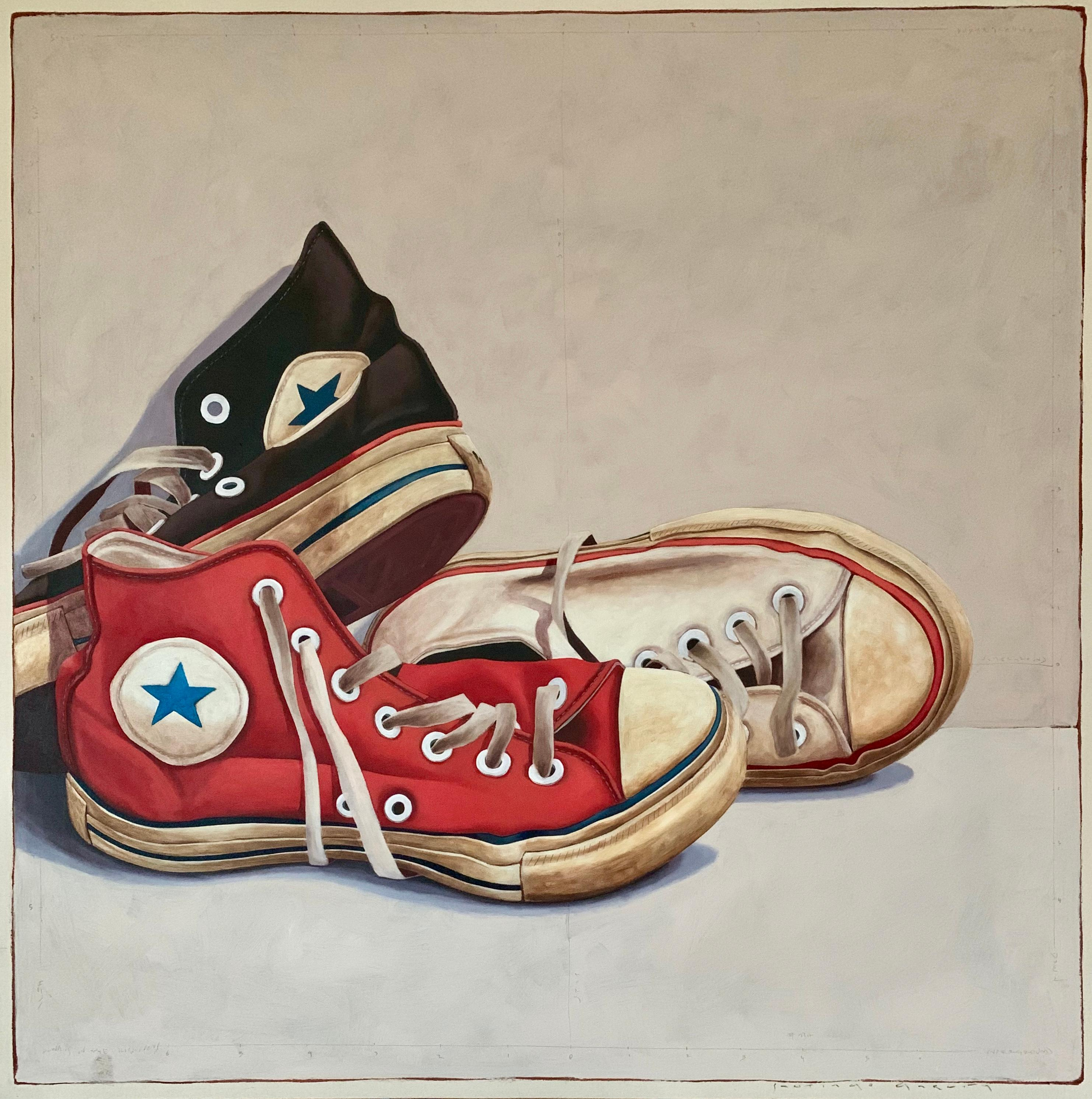 """""""1318"""" Photorealist oil painting of red, black, and white converse sneakers"""