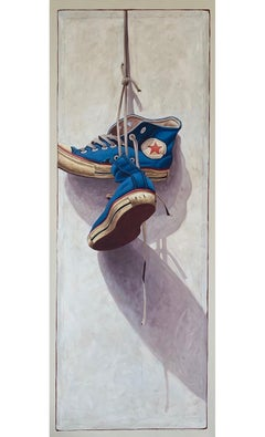 """""""#1320"""" photorealist oil painting of blue high top converse on white background"""