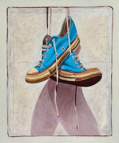 """""""#1327"""" photorealist oil painting of blue converse low tops on white background"""