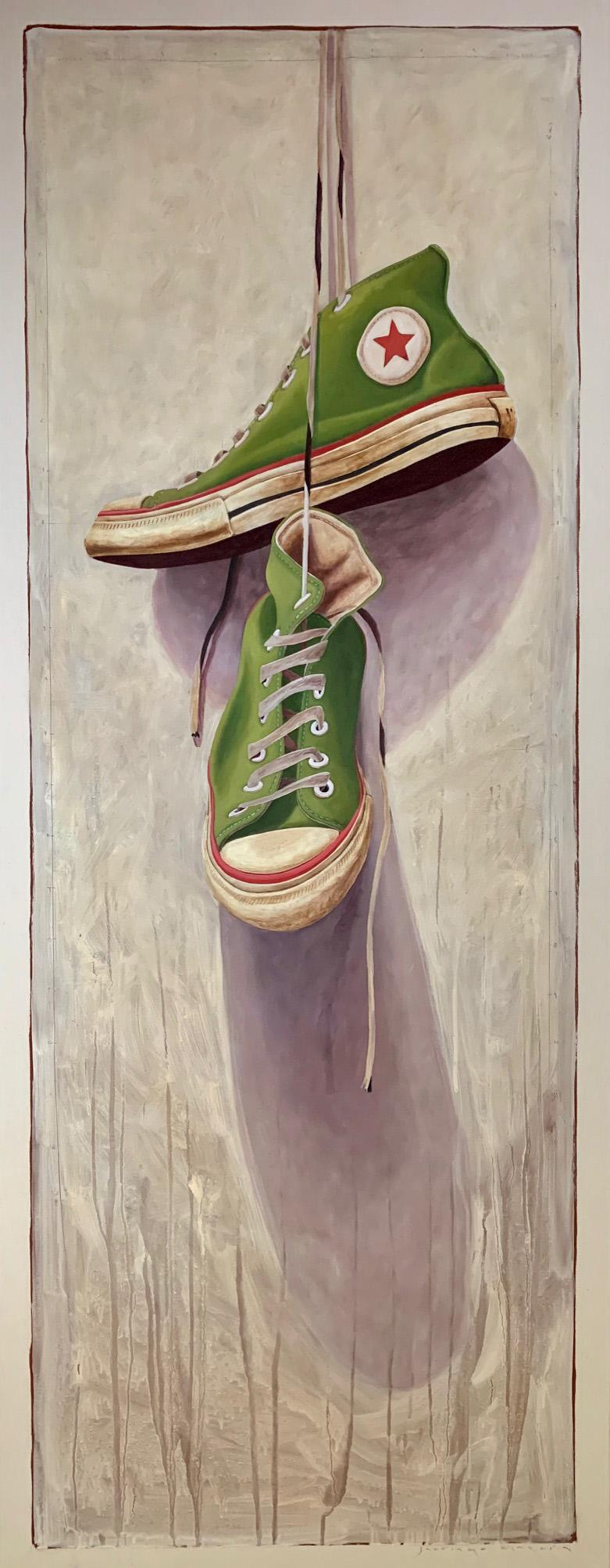 """""""1330"""" photorealist oil painting of green converse high tops, neutral background"""
