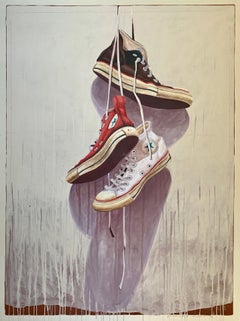 """""""#1332"""" photorealist oil painting of black, red, white converse high tops"""