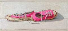 """""""#1361"""" oil painting of hot pink low top converse sneakers on white background"""