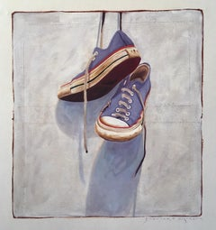 """""""#1402"""" oil painting  of blue converse hanging by the laces on white"""