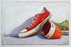 """#21"" Oil painting of red, orange and green converse sneakers"
