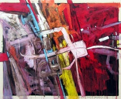 """""""#3"""" Abstract oil painting in vibrant red with yellow, orange, blue and purple"""