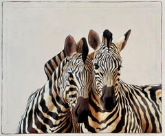 """""""#509"""" black and white oil painting of two black and white zebras in front view"""
