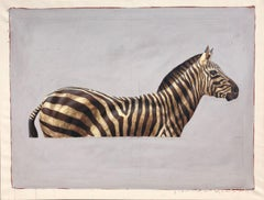 """""""#57"""" Oil painting of Top Half of black and white Zebra on Plain Grey Background"""