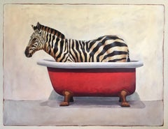 """Andante #678"" oil painting of a black and white zebra in red clawfoot bathtub"