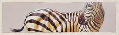 """Andante #7"" Oil painting of a Zebra in profile"