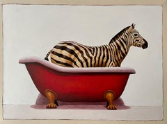 """""""Andante #735"""" oil painting of a zebra in a red clawfoot bath tub"""