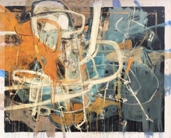 """""""Electric is the Law III"""" Abstract oil painting with blue, white and orange"""