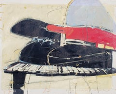 """Opus #2"" Abstract oil painting of a piano in black, white and red."