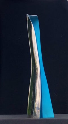 """Elegance"" Blue Tinted Stainless Steel Sculpture"