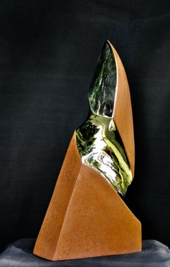 Novo, Contemporary Sculpture in Stainless Steel and Rusted Steel
