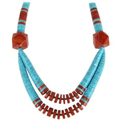Santo Domingo Necklace Turquoise and Spiny Oyster Heishi Jacla Old Pawn