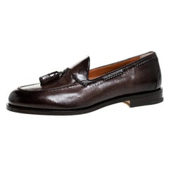 Santoni Brown Leather Tassel Detail Slip On Loafers Size 40.5