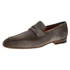 Santoni Grey Nubuck Penny Slip On Loafers Size 44.5