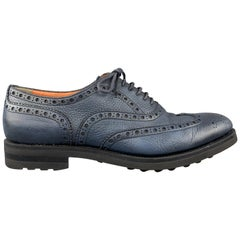 SANTONI Size 10 Navy Leather Wingtip Rubber Sole Lace Up Brogues