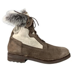 SANTONI Size 10.5 Brown & Grey Suede Fur Lined Ankle Boots