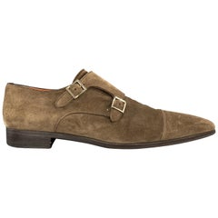 SANTONI Size 11.5 Taupe Suede Double Monk Strap Loafers