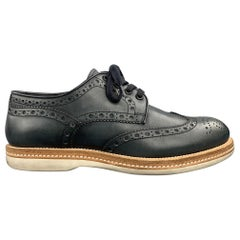 SANTONI Size 8 Navy Perforated Leather Wingtip Lace Up Shoes