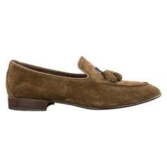SANTONI Size 9 Brown Suede Slip On Tassel Loafers