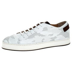 Santoni White Perforated Leather Low Top Sneakers Size 41