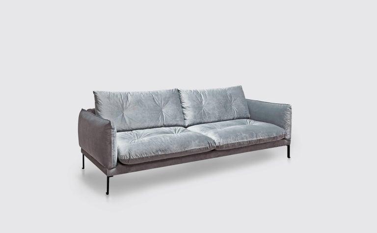 Santorini Handmade Contemporary Sofa, Tufted Cushions, Fabric Cover, Metal  Legs