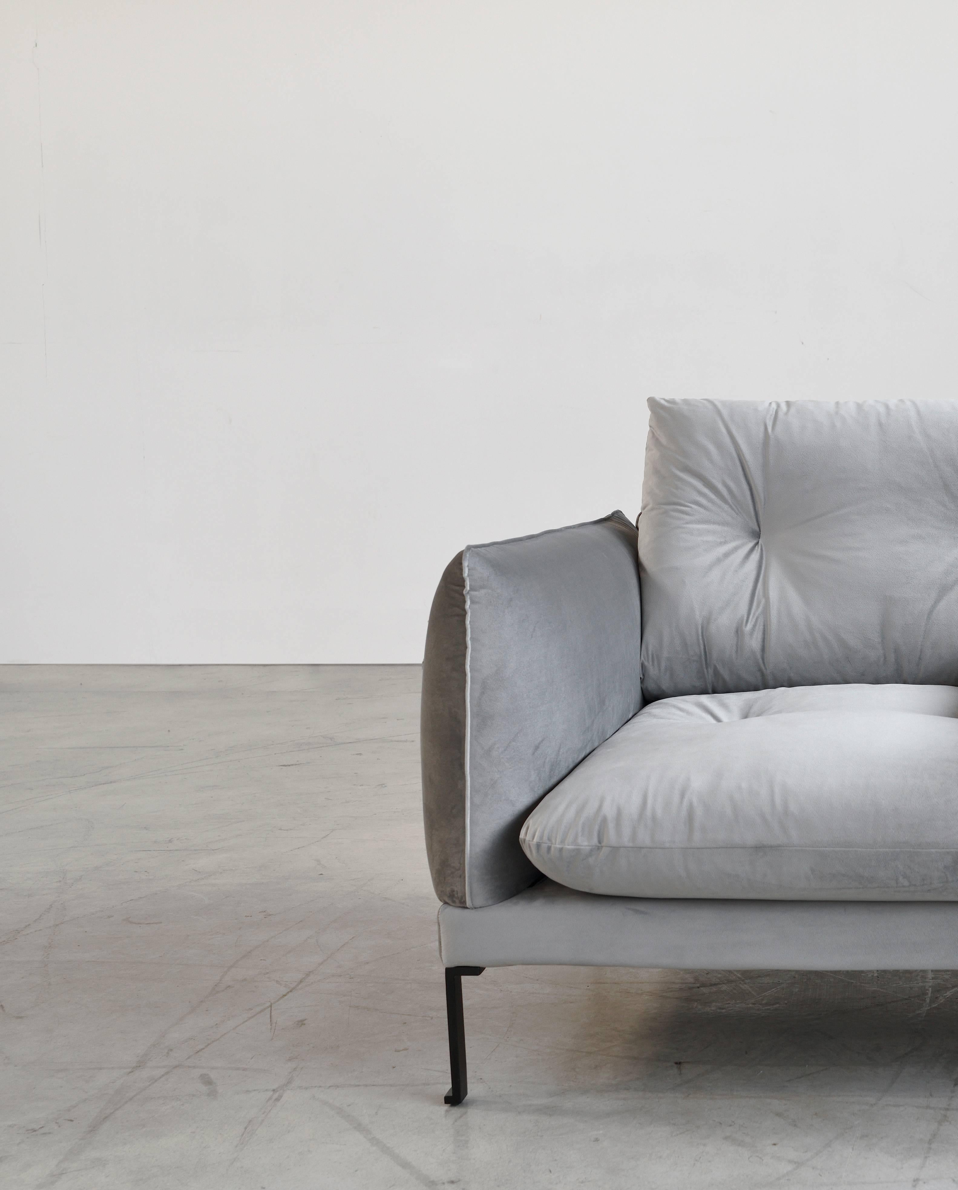 Hand Crafted Santorini Handmade Contemporary Sofa, Tufted Cushions, Fabric  Cover, Metal Legs
