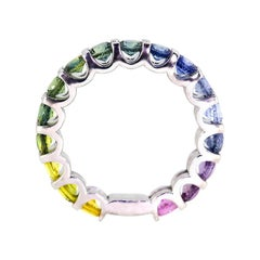 Santorini Pastel Rainbow Sapphire 18 Carat White Gold Eternity Band Ring