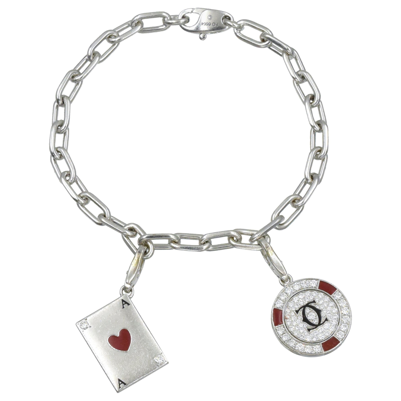 Santos de Cartier Link Bracelet with Two Diamond Charms