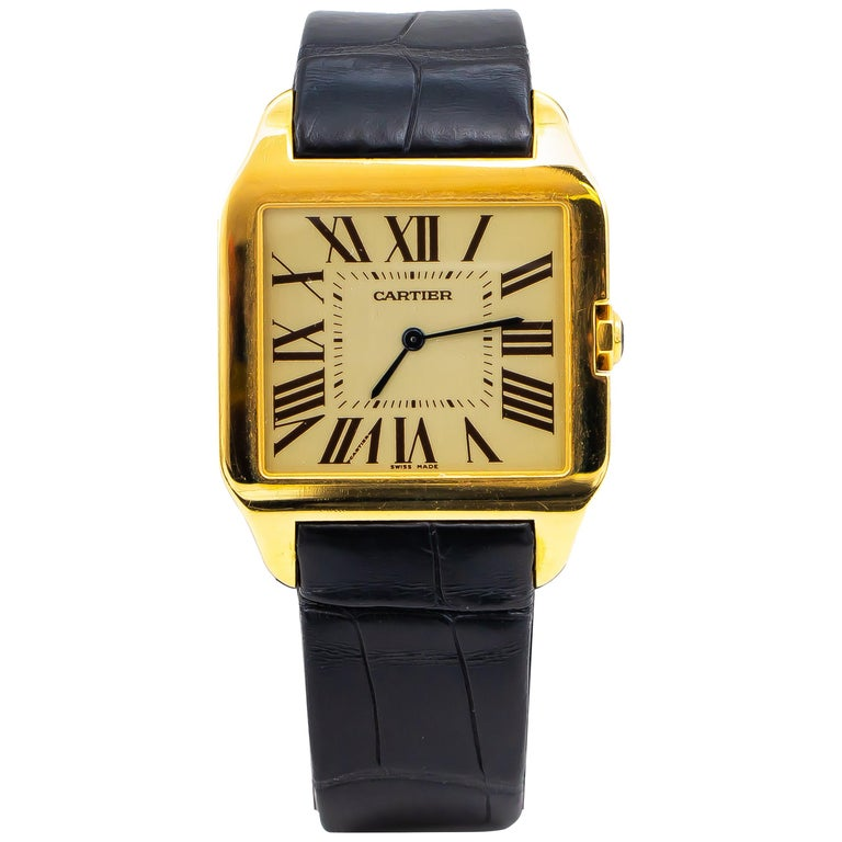 Santos De Cartier Watch 18 Karat Yellow Gold Alligator Strap For Sale