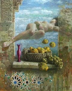 "Surrealist Painting ""Fruta Madura"" by Santos Hu"
