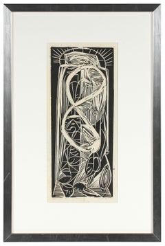 """Apostol"", Monochromatic Modernist Abstract Linocut, Mid 20th Century"