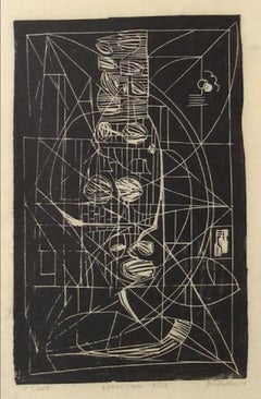 """Negra"" 1964 Monochromatic Abstract Linoleum Print"